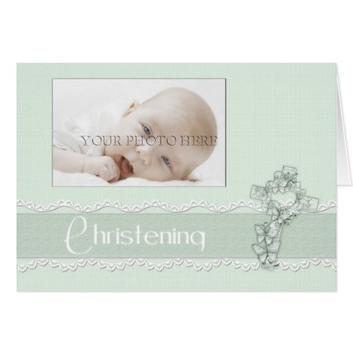 Green Christening Photo Invitation Stationery Note Card