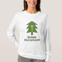"""""""Green Christian"""" Women's Shirt with Cross Design"""