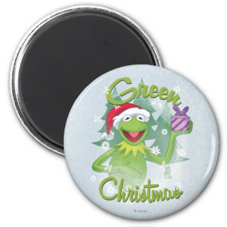 Green Christmas 2 Inch Round Magnet
