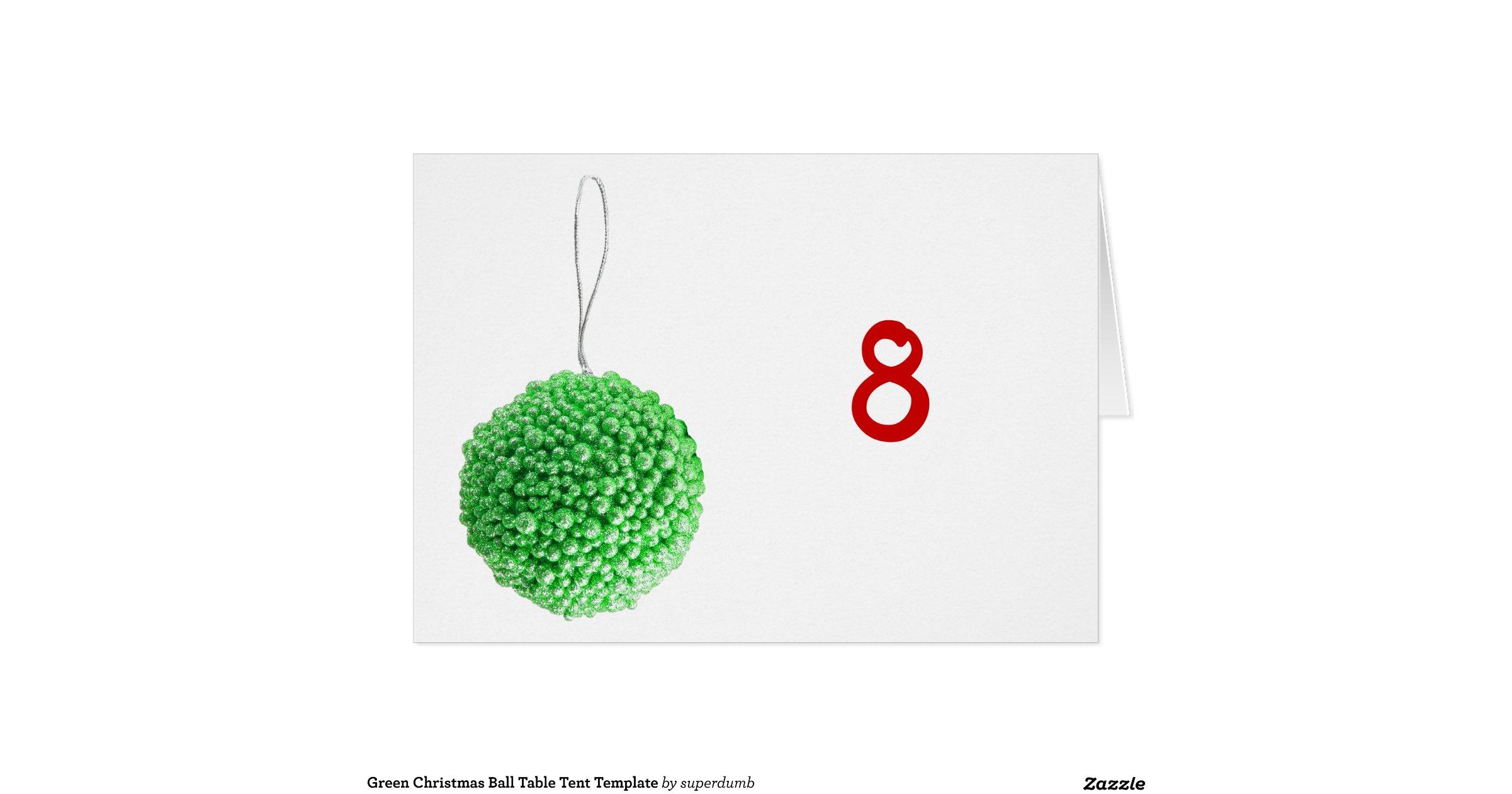 green_christmas_ball_table_tent_template_card ...