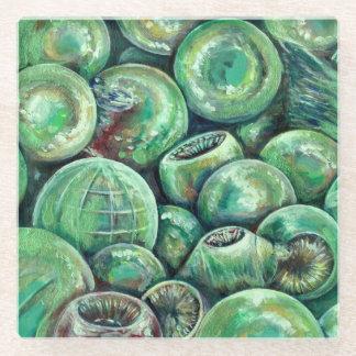 Green Christmas Balls Glass Coaster