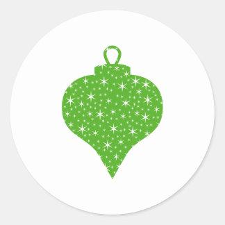 Green Christmas Bauble Design. Classic Round Sticker