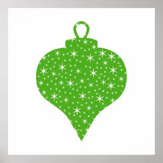 Green Christmas Bauble Design Print