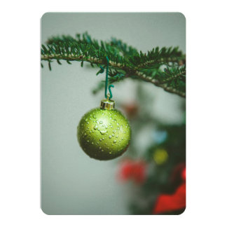 Green Christmas bauble Custom Invitation Card