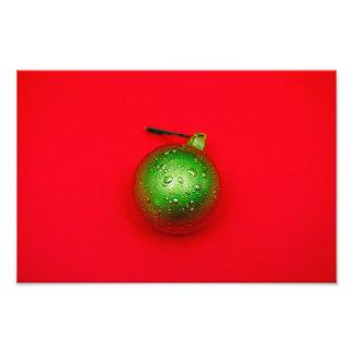 Green Christmas bauble Photo Print