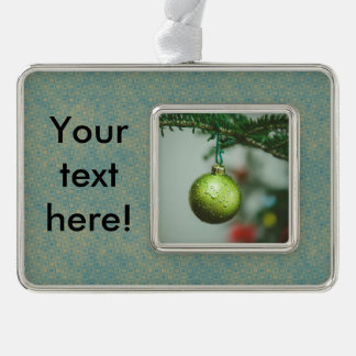 Green Christmas bauble Silver Plated Framed Ornament