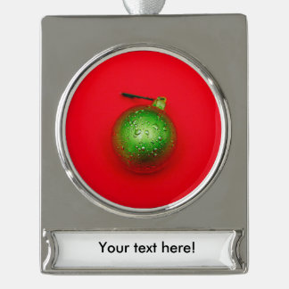 Green Christmas bauble Silver Plated Banner Ornament