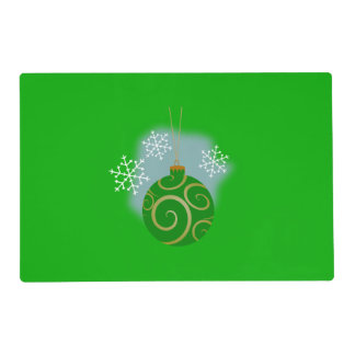 Green Christmas Bauble & Snowflakes Placemat