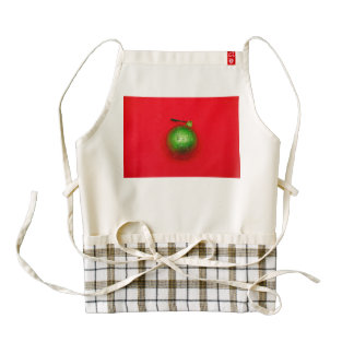 Green Christmas bauble Zazzle HEART Apron