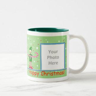 Green Christmas Candy Cane Elf 2-Photo Frame Two-Tone Coffee Mug