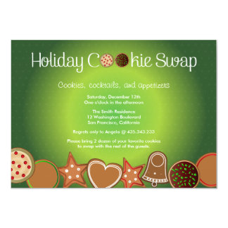 Green Christmas Cookie Swap Party 4.5x6.25 Paper Invitation Card