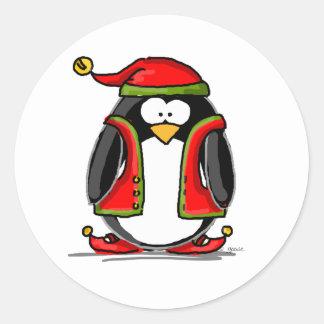 Green Christmas Elf Penguin Classic Round Sticker