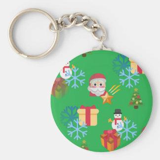 green christmas emoji keychain