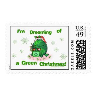 Green Christmas Environmental Postage Stamps