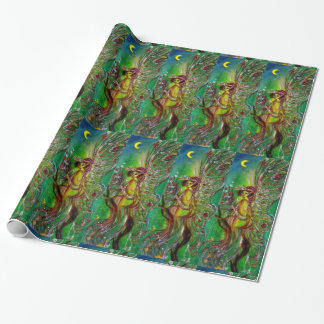 GREEN CHRISTMAS FAIRY ,GOLD SPARKLES IN MOONLIGHT WRAPPING PAPER