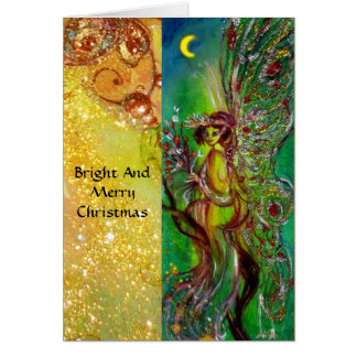 GREEN CHRISTMAS FAIRY WITH GOLD FLORAL SPARKLES CARD