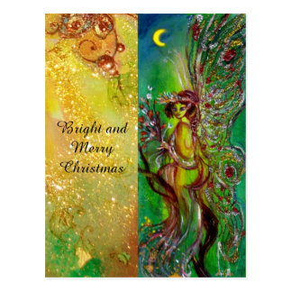 GREEN CHRISTMAS FAIRY WITH GOLD FLORAL SPARKLES POSTCARD