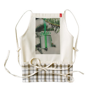 Green Christmas gift tree decoration Zazzle HEART Apron