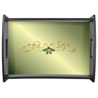 Green Christmas Glow Service Trays