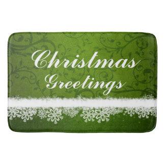 Green Christmas Greetings Snowflakes Bath Mats