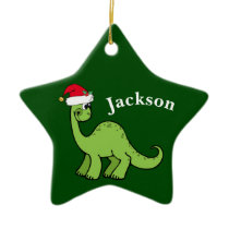 Green Christmas Kids Dinosaur Ceramic Ornament