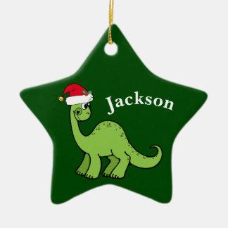 Green Christmas Kids Dinosaur Ceramic Ornament