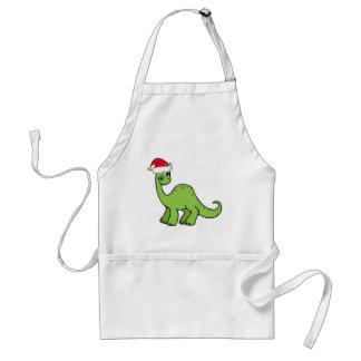 Green Christmas Kids Dinosaur Santa Adult Apron