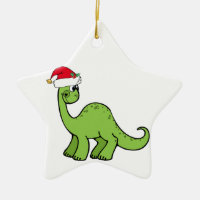 Green Christmas Kids Dinosaur Santa Double-Sided Star Ceramic Christmas Ornament