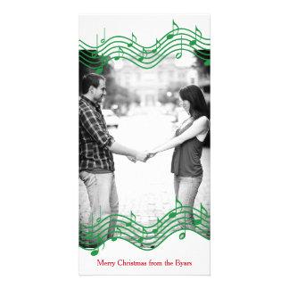 Green Christmas Music Photo Holiday Card