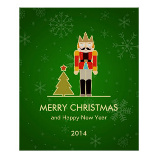 Green Christmas - Nutcracker Holiday Greeting Poster