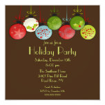 "Green Christmas Ornament Holiday Party Invitation 5.25"" Square Invitation Card"