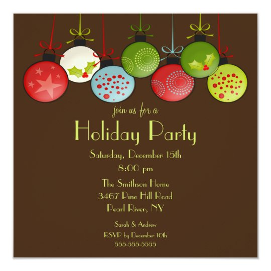 Green Christmas Ornament Holiday Party Invitation   Zazzle.com