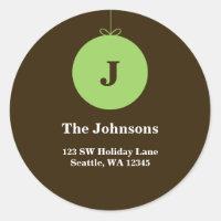 Green Christmas Ornament Monogram Address Labels