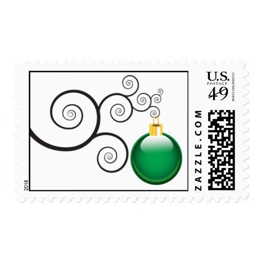 Green Christmas Ornament Postage Stamps