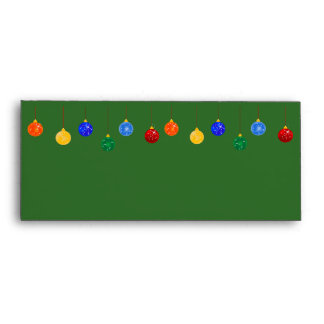 Green Christmas Ornaments Envelopes