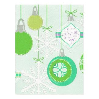Green Christmas Ornaments Postcard
