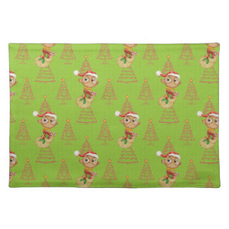 Green Christmas Owls & Trees Placemat