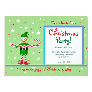 Green Christmas Party Candy Cane Elf Card