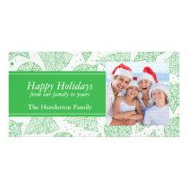 Green Christmas Pattern Holiday Photo Card