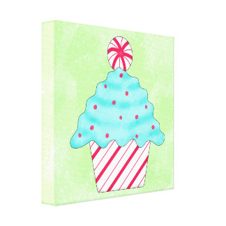 Green Christmas Peppermint Cupcake Whimsy Art Canvas Print