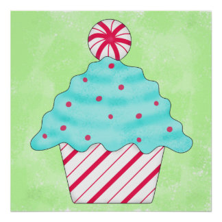 Green Christmas Peppermint Cupcake Whimsy Art Poster
