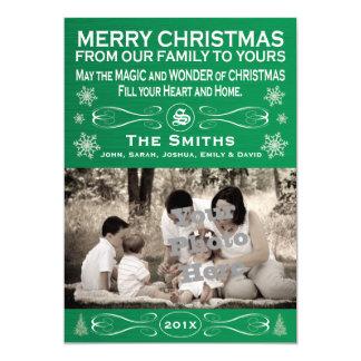 Green Christmas Photo Card