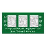 Green Christmas photocard template | three photos Photo Card