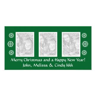 Green Christmas photocard template | three photos