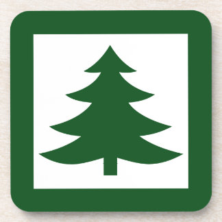 Green Christmas Pine Tree on White Beverage Coaster