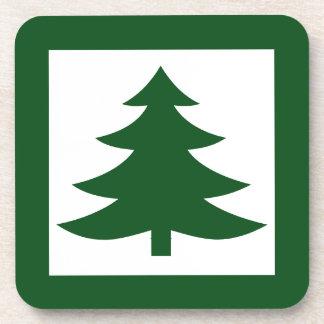Green Christmas Pine Tree on White Beverage Coaster