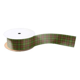 Green Christmas Plaid Pattern Satin Ribbon