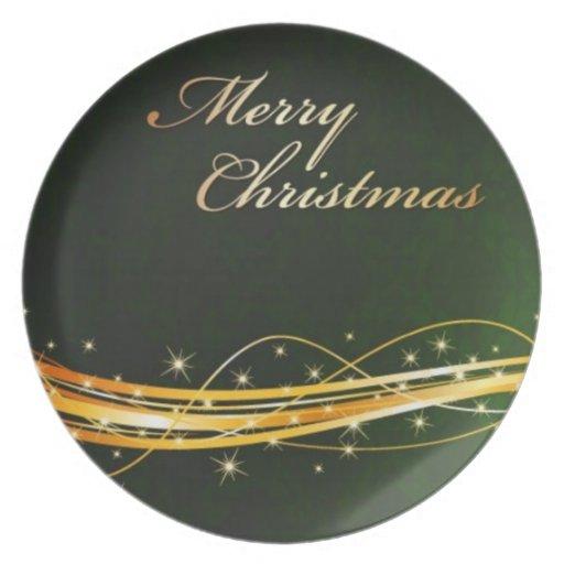 green Christmas plate