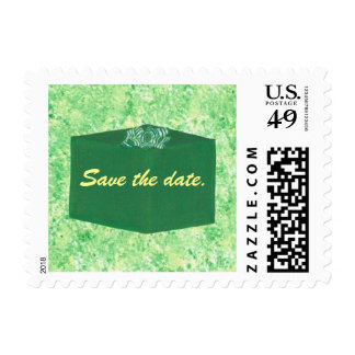 Green Christmas Present Save the date Stamps