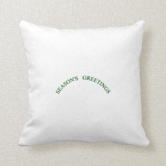 Green Christmas Seasons Greetings Pillow
